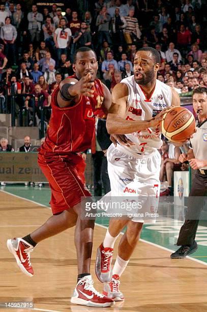 Malik Hairston of EA7 Emporio Armani competes with Sylvere Bryan during the Lega Basket Serie A match between Umana Venezia and EA7 Emporio Armani...