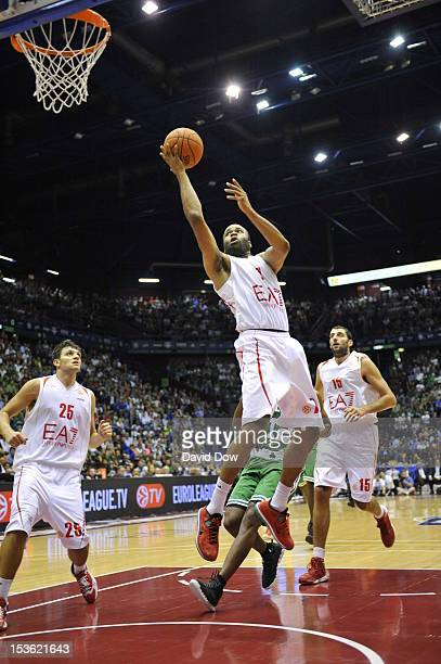 Malik Hairston of the EA7 Emporio Armani Milano goes to the basket during the game between the Boston Celtics and the EA7 Emporio Armani Milano...