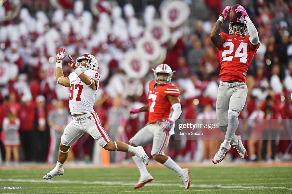 Malik Hooker #24 of the Ohio State Buckeyes intercepts a pass intended for Mitchell Paige #87 of the Indiana Hoosiers in the fourth quarter at Ohio Stadium on October 8, 2016 in Columbus, Ohio. Ohio State defeated Indiana 38-17.