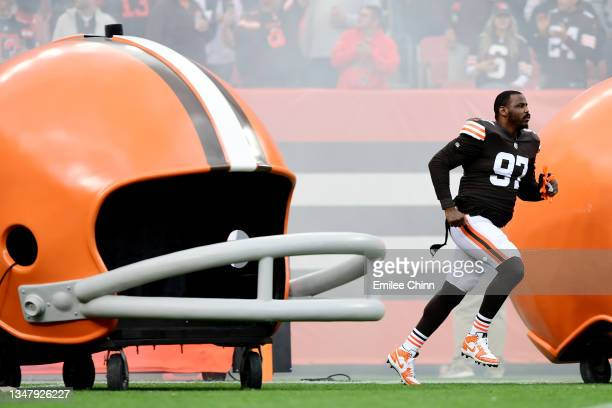 Malik Jackson of the Cleveland Browns takes the field for a game against the Arizona Cardinals at FirstEnergy Stadium on October 17, 2021 in...