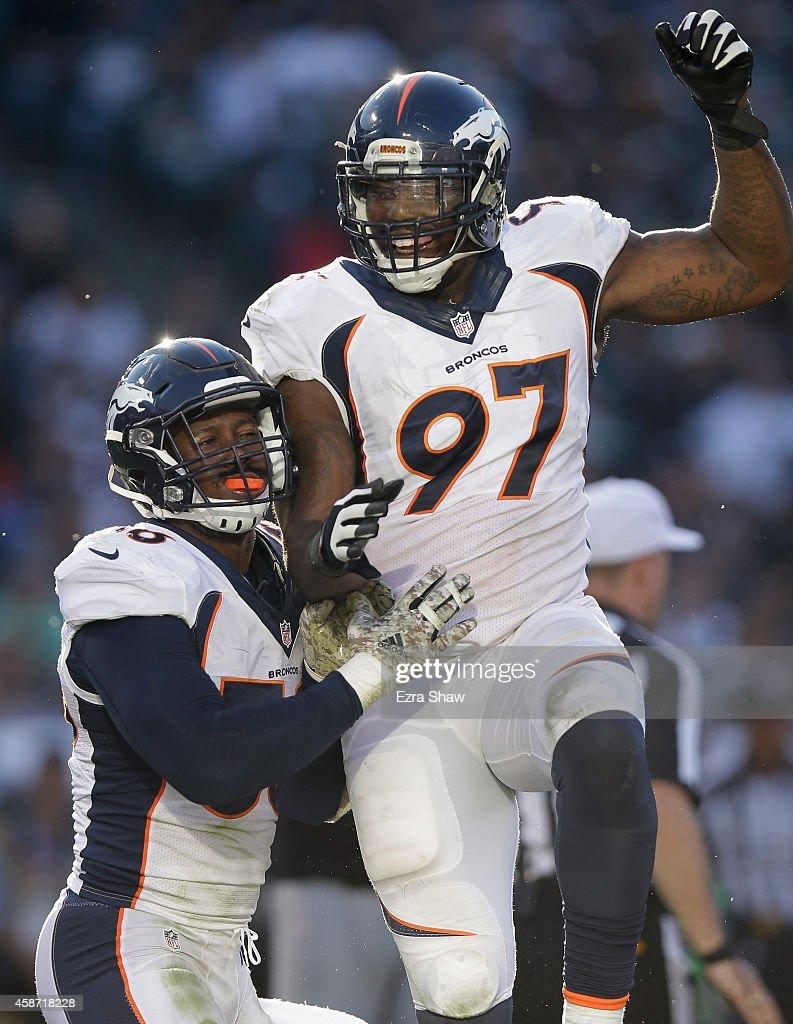 Malik Jackson #97 of the Denver Broncos celebrates in the third quarter against the Oakland Raiders at O.co Coliseum on November 9, 2014 in Oakland, California.