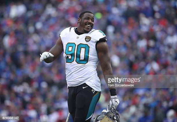 Malik Jackson of the Jacksonville Jaguars during NFL game action against the Buffalo Bills at New Era Field on November 27 2016 in Orchard Park New...