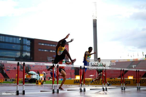Malik JamesKing of Jamaica in action during heat 3 of the men's 400m hurdles semi finals on day four of The IAAF World U20 Championships on July 13...