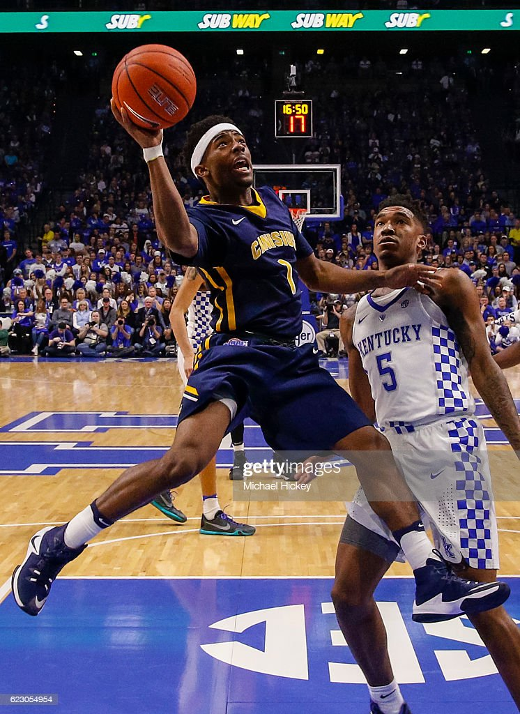 Malik Johnson #1 of the Canisius Golden Griffins shoots the ball against Malik Monk #5 of the Kentucky Wildcats at Rupp Arena Stadium on November 13, 2016 in Lexington, Kentucky. Kentucky defeated Canisius 93-69.