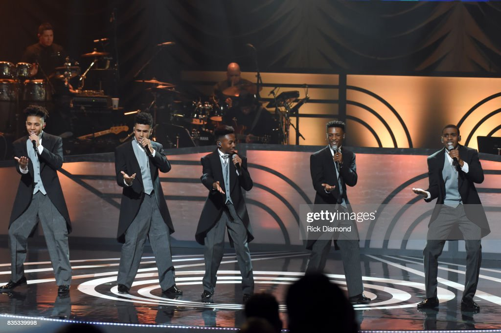 Malik Knighten, Christopher Louis, Leon Outlaw, Tre'Von Waters and Terence Thomas of Next Town Down performs onstage at the 2017 Black Music Honors at Tennessee Performing Arts Center on August 18, 2017 in Nashville, Tennessee.
