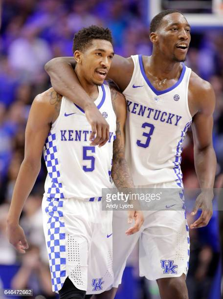 Malik Monk and Bam Adebayo of the Kentucky Wildcats celebrate in the second half against the Vanderbilt Commodores at Rupp Arena on February 28 2017...