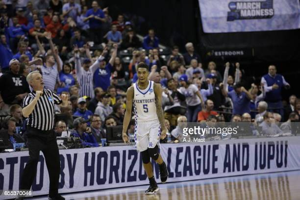 Malik Monk of Kentucky reacts after hitting a shot against Wichita State University during the 2017 NCAA Men's Basketball Tournament held at Bankers...