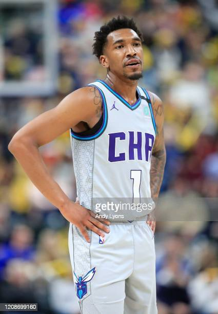 Malik Monk of the Charlotte Hornets against the Indiana Pacers at Bankers Life Fieldhouse on February 25, 2020 in Indianapolis, Indiana. NOTE TO...