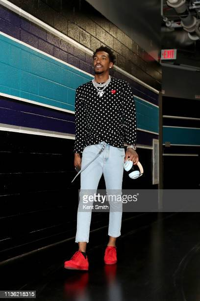 Malik Monk of the Charlotte Hornets arrives to the arena before the game against the Orlando Magic on April 10 2019 at Spectrum Center in Charlotte...