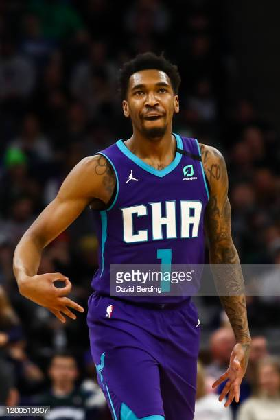Malik Monk of the Charlotte Hornets celebrates after hitting a three point shot against the Minnesota Timberwolves in the third quarter of the game...