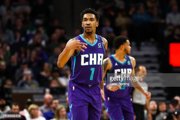 Malik Monk of the Charlotte Hornets celebrates after hitting a three point shot against the Minnesota Timberwolves in the fourth quarter of the game...