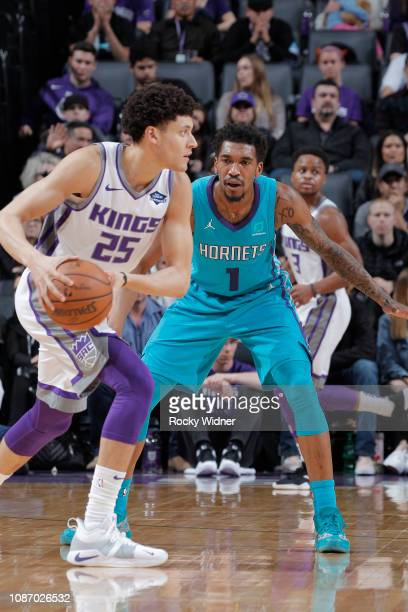 Malik Monk of the Charlotte Hornets defends Justin Jackson fo the Sacramento Kings on January 12 2019 at Golden 1 Center in Sacramento California...