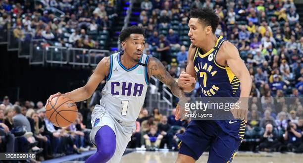 Malik Monk of the Charlotte Hornets dribbles the ball against the Indiana Pacers at Bankers Life Fieldhouse on February 25, 2020 in Indianapolis,...
