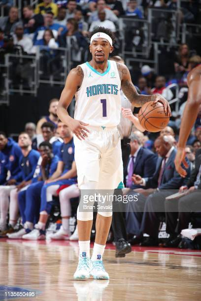 Malik Monk of the Charlotte Hornets dribbles the ball during the game against the Detroit Pistons on April 7 2019 at Little Caesars Arena in Detroit...