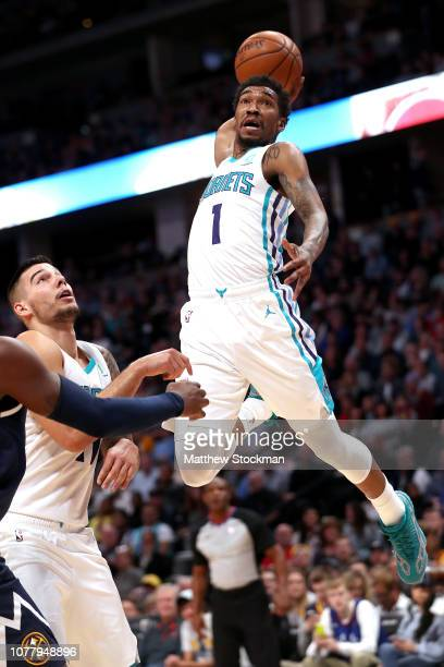 Malik Monk of the Charlotte Hornets dunks against the Denver Nuggets in the second quarter at the Pepsi Center on January 5, 2019 in Denver,...