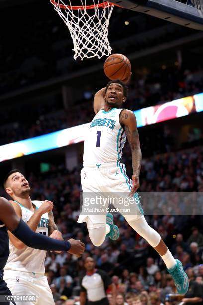 Malik Monk of the Charlotte Hornets dunks against the Denver Nuggets in the second quarter at the Pepsi Center on January 5 2019 in Denver Colorado...