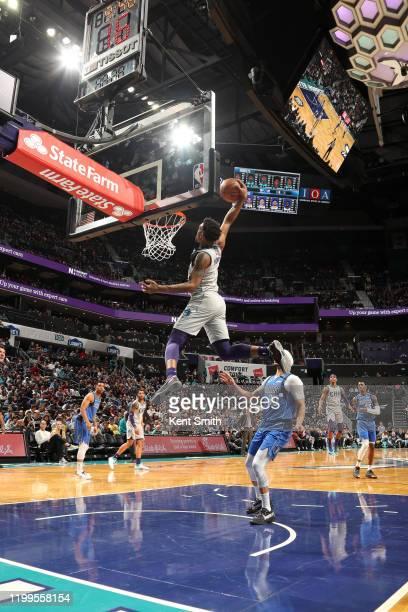 Malik Monk of the Charlotte Hornets dunks the ball against the Dallas Mavericks on February 8 2020 at Spectrum Center in Charlotte North Carolina...