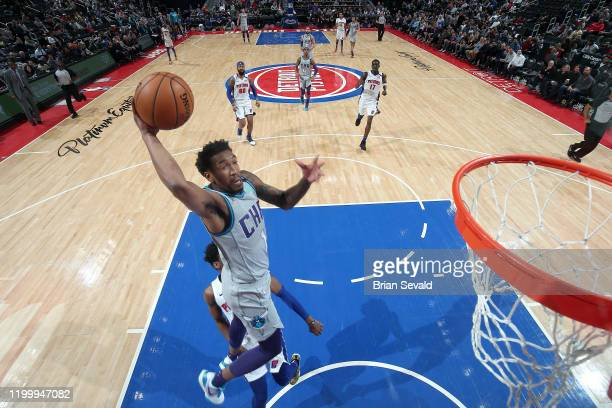 Malik Monk of the Charlotte Hornets dunks the ball against the Detroit Pistons on February 10, 2020 at Little Caesars Arena in Detroit, Michigan....