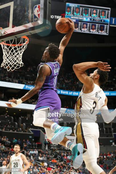 Malik Monk of the Charlotte Hornets dunks the ball during the game against the New Orleans Pelicans on November 9, 2019 at Spectrum Center in...