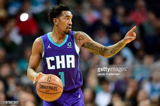 Malik Monk of the Charlotte Hornets during the second quarter during their game against the Boston Celtics at Spectrum Center on December 31, 2019 in...