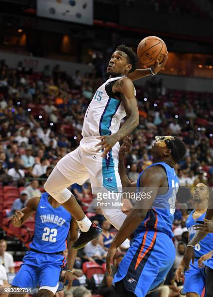 Malik Monk of the Charlotte Hornets goes up for a dunk after he was fouled by the Oklahoma City Thunder during the 2018 NBA Summer League at the...