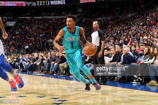 Malik Monk of the Charlotte Hornets handles the ball against the Philadelphia 76ers on November 9 2018 at Wells Fargo Center in Philadelphia...