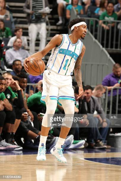Malik Monk of the Charlotte Hornets handles the ball against the Boston Celtics on March 23, 2019 at Spectrum Center in Charlotte, North Carolina....