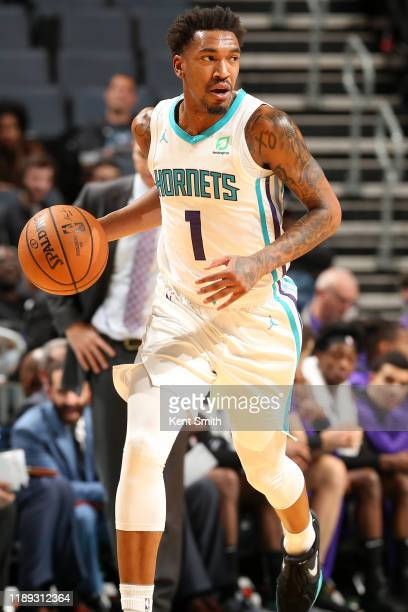 Malik Monk of the Charlotte Hornets handles the ball against the Sacramento Kings on December 17, 2019 at Spectrum Center in Charlotte, North...