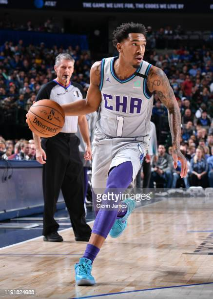 Malik Monk of the Charlotte Hornets handles the ball against the Dallas Mavericks on January 4, 2020 at the American Airlines Center in Dallas,...