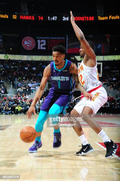 Malik Monk of the Charlotte Hornets handles the ball against the Atlanta Hawks on March 15 2018 at Philips Arena in Atlanta Georgia NOTE TO USER User...