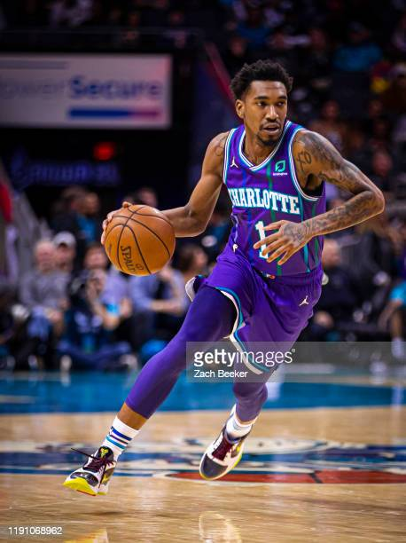 Malik Monk of the Charlotte Hornets handles the ball against the Oklahoma City Thunder on December 27, 2019 at Spectrum Center in Charlotte, North...