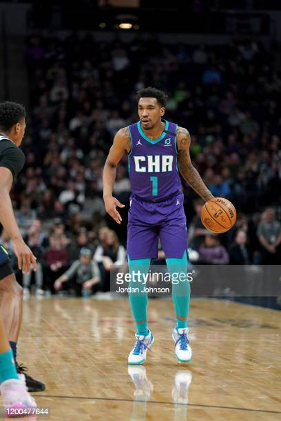 Malik Monk of the Charlotte Hornets handles the ball during a game against the Minnesota Timberwolves on February 12, 2020 at Target Center in...