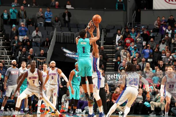 Malik Monk of the Charlotte Hornets hits the game winning shot during a game against the Detroit Pistons on November 15 2019 at Spectrum Center in...