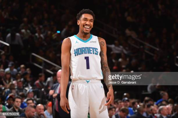 Malik Monk of the Charlotte Hornets looks on against the New York Knicks at Madison Square Garden on March 17 2018 in New YorkNew York NOTE TO USER...
