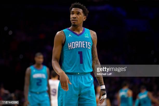 Malik Monk of the Charlotte Hornets looks on against the Philadelphia 76ers at the Wells Fargo Center on November 10 2019 in Philadelphia...