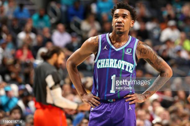 Malik Monk of the Charlotte Hornets looks on during a game against the Oklahoma City Thunder on December 27, 2019 at Spectrum Center in Charlotte,...