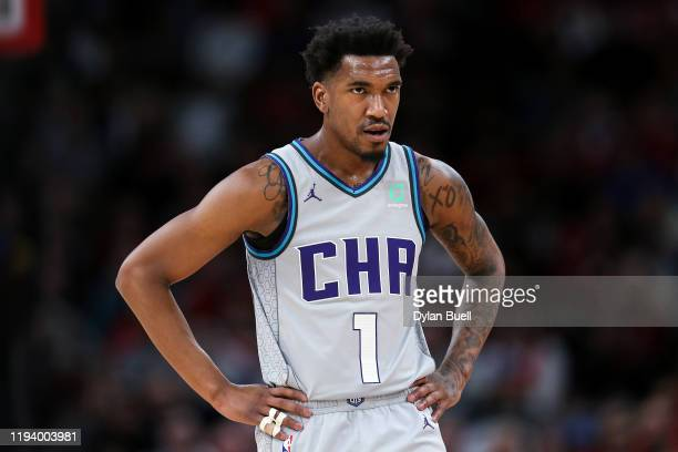 Malik Monk of the Charlotte Hornets looks on in the second quarter against the Chicago Bulls at the United Center on December 13 2019 in Chicago...