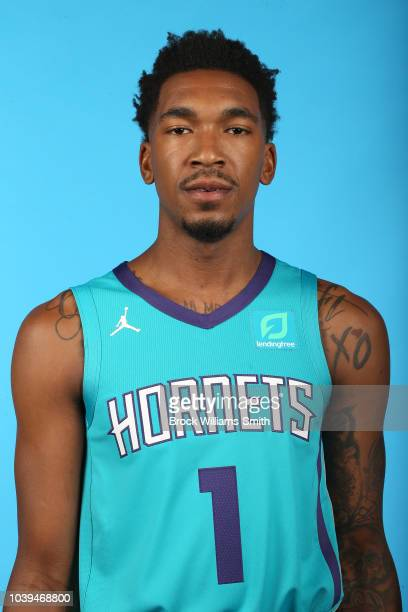 Malik Monk of the Charlotte Hornets poses for a head shot during media day on September 24 at the Spectrum Center in Charlotte, North Carolina. NOTE...