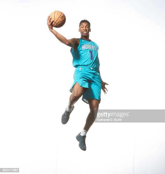 Malik Monk of the Charlotte Hornets poses for a photo during the 2017 NBA Rookie Shoot on August 11 2017 at the Madison Square Garden Training Center...