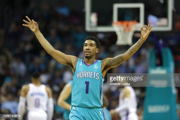 Malik Monk of the Charlotte Hornets reacts after a play against the Oklahoma City Thunder during their game at Spectrum Center on November 1 2018 in...