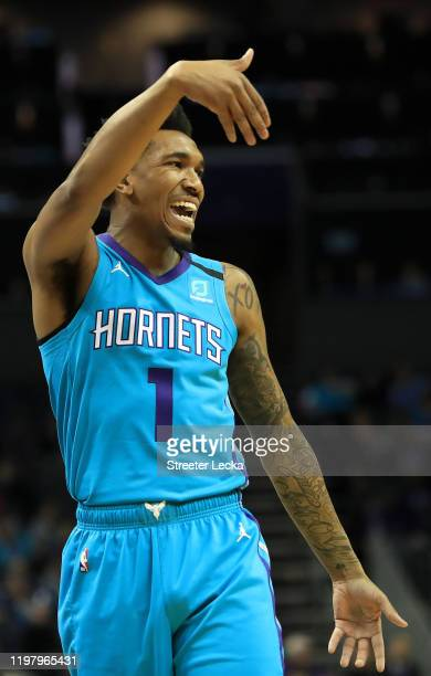 Malik Monk of the Charlotte Hornets reacts after a play against the Indiana Pacers during their game at Spectrum Center on January 06, 2020 in...