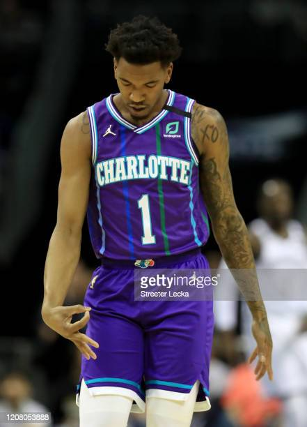 Malik Monk of the Charlotte Hornets reacts after a play against the Brooklyn Nets] during their game at Spectrum Center on February 22, 2020 in...