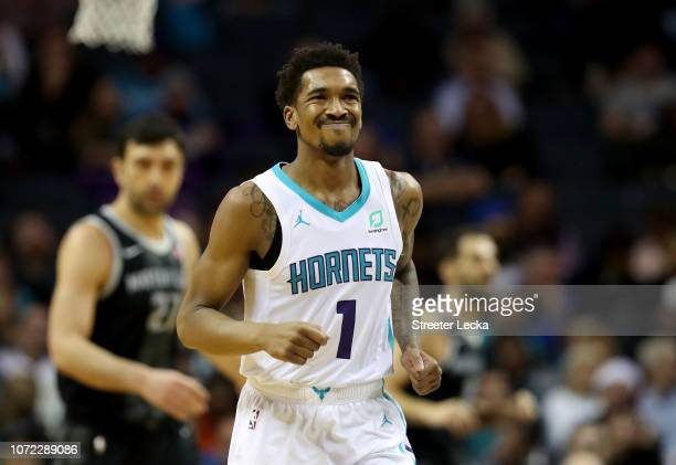 Malik Monk of the Charlotte Hornets reacts against the Detroit Pistons during their game at Spectrum Center on December 12 2018 in Charlotte North...