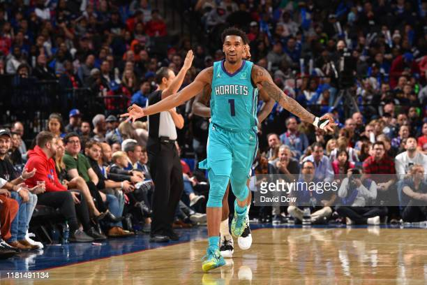 Malik Monk of the Charlotte Hornets reacts during a game against the Philadelphia 76ers on November 10, 2019 at the Wells Fargo Center in...