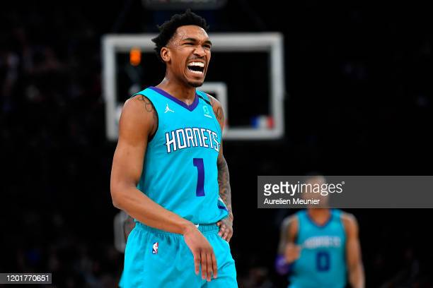 Malik Monk of the Charlotte Hornets reacts during the NBA Paris Game match between Charlotte Hornets and Milwaukee Bucks on January 24, 2020 in...