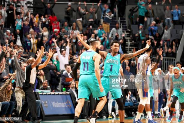 Malik Monk of the Charlotte Hornets reacts to hitting the game winning shot during a game against the Detroit Pistons on November 15, 2019 at...
