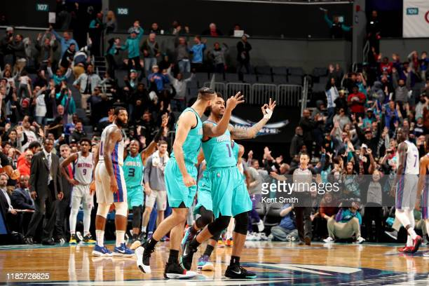 Malik Monk of the Charlotte Hornets reacts to hitting the game winning shot against the Detroit Pistons on November 15, 2019 at Spectrum Center in...
