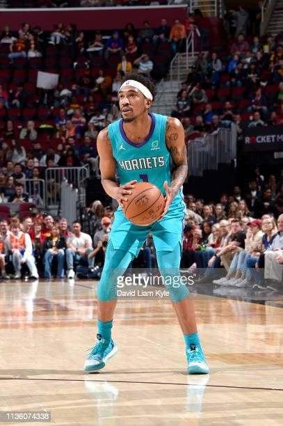 Malik Monk of the Charlotte Hornets shoots a three point basket during the game against the Cleveland Cavaliers on April 9, 2019 at Rocket Mortgage...