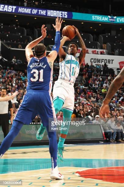 Malik Monk of the Charlotte Hornets shoots the ball against the Philadelphia 76ers on November 17 2018 at Spectrum Center in Charlotte North Carolina...