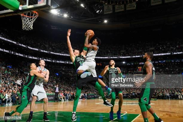Malik Monk of the Charlotte Hornets shoots the ball against the Boston Celtics on December 22 2019 at the TD Garden in Boston Massachusetts NOTE TO...
